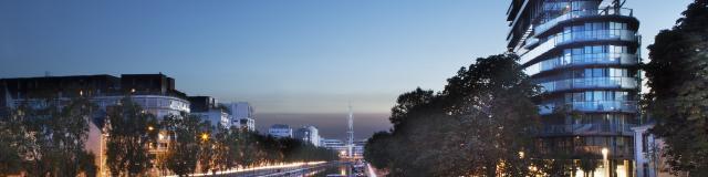 Nuit sur le canal, la Mabilais et l'immeuble Jean Nouvel